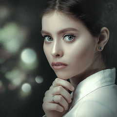 Female Portrait (Dmytro Tolokonov) Tags: woman girl female portrait beauty beautiful white bokeh style stylish fashion look face adult young people dark eve night city lights retro vogue makeup