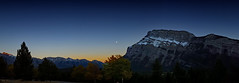 tunnel mountain blue hour (Simple_Sight) Tags: alberta tunnelmountain mountain sundown bluehour blue night sky trees canada banff banffnationalpark nature outdoors sun cöouds landscape panorama clouds orange moon