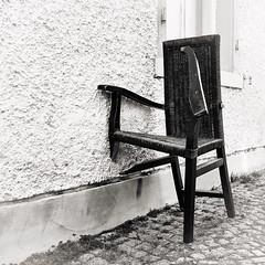 With a Little Help (macplatti) Tags: xt10 xf1855mmf284rlmois monochrome chair urban wall sw bw blackandwhite schwarzweiss broken feldkirch vorarlberg austria aut