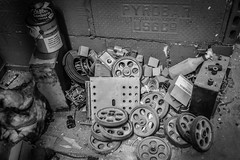 Spare Parts (tim.perdue) Tags: spare parts old abandoned elevator pulley wheel lubricant coffee can chase sanborn pyrobar black white bw monochrome urban exploration urbex leveque tower columbus ohio monomayhem monomayhem2017