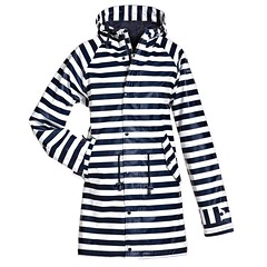 BMS - HafenCity SoftSkin rain coat blue white stripes (ShinyNylonFan) Tags: rainjacket raincoat waterproofed bmshafencity bms rubber