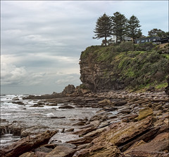 Clifftop living (JustAddVignette) Tags: australia avalonbeach clouds cloudysunrise early headland landscapes newsouthwales nosun ocean panorama rocks seascape seawater sky sydney water waves