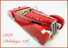 1939 Delahaye 136 (Lino M) Tags: delahaye 1939 165 136 red tan lego lug nuts build challenge french connection car deco lino martins retro classic cars france