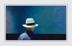 The Art of Poetry (Christina's World aka Chrissie Bee) Tags: streetphoto street art painting man candid portrait hat strawhat fashion fair artshow blue creative realpeople grayhair seniorcitizen hopper hopperesque edwardhopper