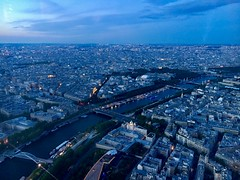 Atop the Eiffel Tower: Paris at night