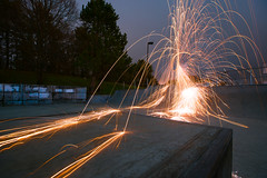 Sparks Are Flying (Evan's Life Through The Lens) Tags: camera sony a7rii lens glass beautiful color vibrant amazing fullframe adventure friends long exposure night skatepark skate sparks steel wool steelwool fly orange bright
