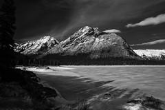 Lake Minnewanka early spring (Dillan K) Tags: banffnationalpark alberta blackandwhite 5d canon ef24mmf28 snow landscape rockymountains