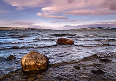 Small waves (Tom Dalhoy) Tags: ifttt 500px sky lake sea sunset water blue sun wind light clouds ocean rock pink wave stone