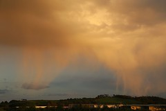 Falling hail (matt.clark25) Tags: showers virga precipitation hail hailshafts reflection reflections water cumulus cumulonimbus exeter devon exetershipcanal weather april spring clouds cloud landscape evening