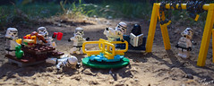 Having Fun in the Park (RagingPhotography) Tags: d3300 lego star wars galactic empire imperial stormtroopers fun outside park darth vader swing set bench tag minifigure minifig plastic ragingphotography