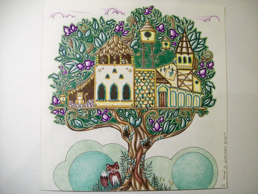 Pg44 Treehouse Lynne M B Tags Coloringadults Coloring Coloringbook Coloredpencils Drawing Art Illustration Prismacolor Enchanted Forest