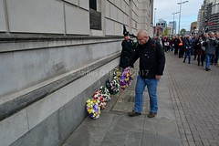 Laying a wreath (James O'Hanlon) Tags: international workers memorial day internationalworkersmemorialday service liverpool 2017 malcolmkennedy deputy mayor cllr malcolm kennedy wreath public pier head georges dock mersey tunnel