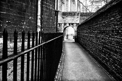 Archway into cloisters (scarbrog) Tags: blackandwhite fence wall arch cathedral peterborough cloisters silverefex niksoftware uk