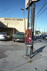 Car seat (ADMurr) Tags: la southla leica m4 50mm summicron kodak ektar film vertical cab045 abiding love storefront church broken carseat