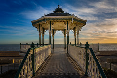 Bandstand (scarlet-pimp) Tags: bandstand england sunset water vignette outdoor canon5d clouds sun blue beach dusk symmetrical symmetry color colour outdoors brightonbeach brighton eastsussex architecture sky unitedkingdom restored