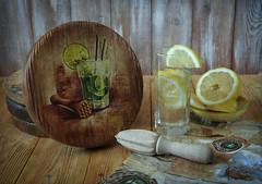 Kitchen stories part 1 (Button-NK) Tags: decoupage cuttingboard vegetables tomatoes condiments lemon grapes pumpkin wine stilllife kitchen
