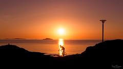 Sunset Bike Trail (Kurt Evensen) Tags: norway rogaland bicycle bike landscape sea shore shoreline silhouette sky sunset vivid water