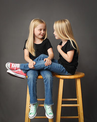 IMG_8421 (theiss.heather) Tags: twin twins girls portraits photo session 6 years studio simple stool converse