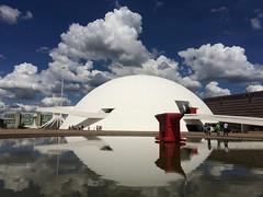 Sentinel  .  .  . (ericrstoner) Tags: nationalmuseum museunacional greategret ardeaalba ardeidae ramp rampa reflectingpool espelhodágua clouds nuvens brasília distritofederal
