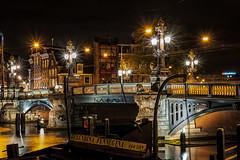 Amsterdam Amstel Bridge by night (PaulHoo) Tags: amsterdam amstel bridge boat evening night architecture 2017 nikon d700 illuminated light lantern nik lightroom city urban holland netherlands