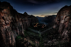 Night over Zion National Park (moerden68) Tags: zionnationalpark zioncanyon canyonoverlook redrocks canyon nightshot nightphotography longexposure sonya7ii ilce7m2 zeissdistagont15mmf28zf2 lighttrails canyonoverlooktrail