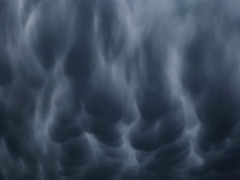 Pregnant Clouds (Steve Taylor (Photography)) Tags: blue monochrome monocolor monocolour weird strange odd newzealand nz southisland canterbury christchurch northnewbrighton shape cloud stormy sky