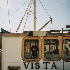 Dedans, dehors (florianbuquet) Tags: rolleiflex porta400 porta kodak boat strandvägen stockholm sweden photography argentique mediumformat couleur selfportrait portrait light soft