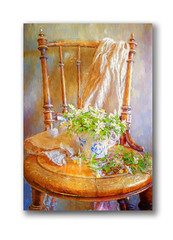 Old hand craft chair (BirgittaSjostedt) Tags: still stilllife chair handcraft anemone cup texture paint topaz birgittasjostedt magicunicornverybest ie