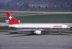 Swissair DC-10-30; HB-IHN@ZRH, April 1987 (Aero Icarus) Tags: slidescan plane avion aircraft flugzeug
