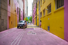 Candy Alleyway (Carrie Cole Photography) Tags: bc britishcolumbia canada carriecolephotography vancouver alley downtown graffiti magenta pacific painted pink street streetart streetphotography tourism travel urban vibrant
