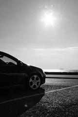 Canon EOS 60D - Golf at the Seaside (TempusVolat) Tags: vw golf vwgolf car auto mono black white wsm westonsupermare steepholm sea sun intothesun garethwonfor tempusvolat gareth wonfor tempus volat mrmorodo