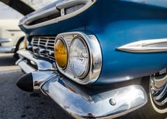Fresh, Fine, and Fashionable (GmanViz) Tags: gmanviz color car automobile detail columbuscarscoffee ccc nikon d7000 1959 chevrolet stationwagon grille bumper headlights chrome fender