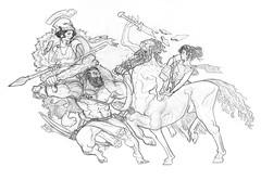 Herakles Athena Nessus and Deianira (Zeessi) Tags: classical art herakles hercules athena athene minerva nessus centaur deianira illustration myth mythology greek