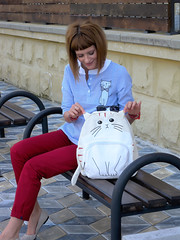 DSCN3475+Doshedevr+Ps (Mama Told Me) Tags: outfit look lookoftheday outfitoftheday lookbook marsala stripes cats backpack casual model fashionblogger fancy activered howtowear sunglasses catlook catlover