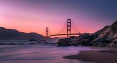 Golden Gate Bridge - Baker Beach (oliverpan) Tags: longexposure purple landscape nopeople sea ocean sunset bridge goldengate beach