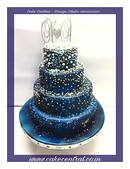 Blue & Pearl themed Galaxy Wedding Cake #wedding #cake #galaxy #blue #pearl #anniversary #birthday #designer #fondant #newdelhi #southdelhi #delhi #noida #gurgaon #themed #elegent (Cake Central-Design Studio) Tags: firstbrthday designercake delhi fondant themed kidscake