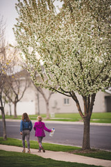 walking home (KieraJo) Tags: 200mm 28 canonef200mmf28liiusm l lens bokeh canon 5d mark iii 3 5 d 5d3 fullframe dslr spring logan utah cache valley life plants leaves new green sky sidewalk grass neighborhood girls kids walking happy blossoms