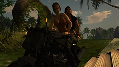 Superbyke (alexandriabrangwin) Tags: alexandriabrangwin secondlife 3d cgi computer graphics virtual world photography mondybristol griffy family island tropical home superbike black fast pulling up front door ride sleek married lesbian couple wife women