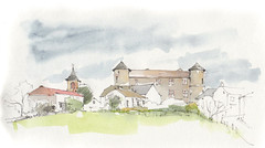 Taurines, Aveyron, France (Linda Vanysacker - Van den Mooter) Tags: watercolour visiblytalented vanysacker vandenmooter tekening sketch schets potlood pencil lindavanysackervandenmooter lindavandenmooter drawing dessin croquis crayon art aquarelle aquarell aquarel akvarell acuarela acquerello kasteel château castle manoir frankrijk france taurines aveyron