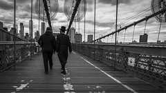 walking over Brooklyn Bridge (Klaus Mokosch) Tags: newyork brooklynbridge schwarzweiss blackwhite monochrome mono street bridge outdoor city urban klausmokosch hdr america amerika usa nyc ny