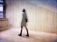 Girl in Striped Room (karen axelrad (karenaxe)) Tags: snapseed slowshutter icolorama painterly iphoneography stackablesapp
