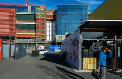 Suns in My Eyes (Jocey K) Tags: cbd newzealand christchurch nikond750 streetart artist mural artwork person shippingcontainer rebuild construction crane people architecture buildings