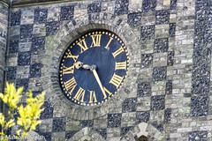 Nine Twenty-Six (M C Smith) Tags: clock church hands numerals stone yellow flowers time pentax k3ii