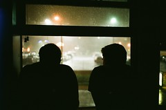 Looking outside during downpour (RyanQuinnPhoto) Tags: film fuji silhouette filmlook dreary mellow collor leica night quiet rain downpour fog midwest