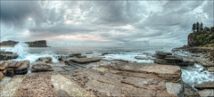 Not feeling like a show today (JustAddVignette) Tags: australia avalonbeach clouds cloudysunrise early headland landscapes newsouthwales nosun ocean panorama rockpool rocks seascape seawater sky sydney water waves