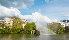 When the sun meets the water (Anyore) Tags: square park parc arcenciel bruxelles rainbows rainbow colors couleurs belgique europe europa water sun sky clouds cloud capital canon canoneos700d canont5i tamron1750