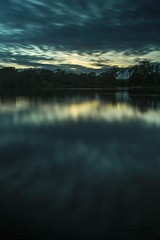 Sunset shoot at Chard Reservoir, Chard, Somerset. (Clandrew) Tags: sunset water reflections chard somerset clouds reservoir evening blue green silhouette nikon d3100 tamron gobefilter giottostripod gobe giottos