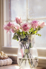 Roses in my kitchen (static_dynamic) Tags: rose roses vase flowers kitchen indoor flowerarrangement spring valentinesday bouquet kitchencounter window windowpane light highkey sunlight pinkflowers garlic potato mykitchen babysbreath 4x6 greetingscard wallart nikon rima beauty pinkrose soft softness love