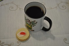 I like my coffee black (ladybugdiscovery) Tags: coffee black cookie cherry icing double scotishempirecookie