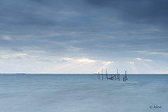 memory of blue (Just me, Aline) Tags: 201704 9ndhg alinevanweert holland le leefilter leefilters nederland netherlands rockanje bigstopper langesluitertijd longexposure sea sunset visnetten zee zonsondergang